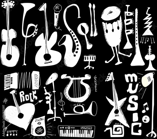doodles musical instruments funny music isolated on black