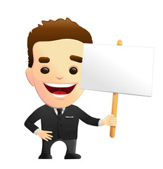 Smiling Businessman Character In A Black Suit Holding A Sign