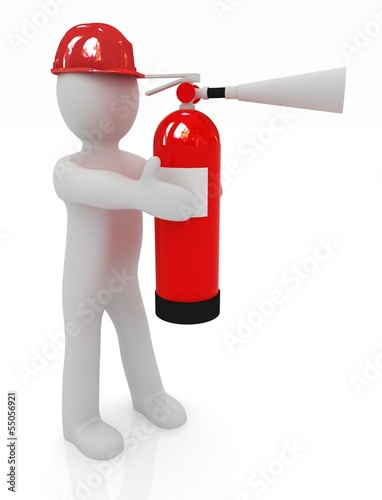 3d man in hardhat with red fire extinguisher