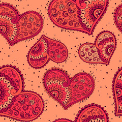 Seamless pattern with hearts with floral ornament