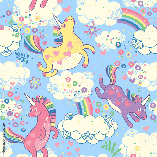 Cute seamless pattern with rainbow unicorns in the clouds