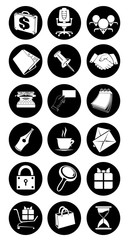 black and white set of information icons on a white background