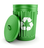 Green recycle trash can with lid 3d