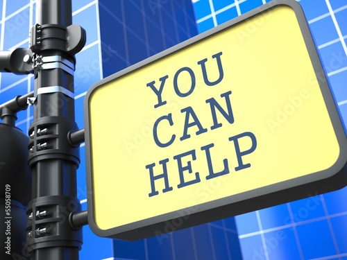 Business Concept. You Can Help Roadsign.