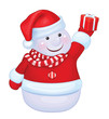 Vector of fun snowman holding gift isolated.