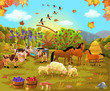 farm animals grazing on the autumn field