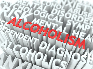 Alcoholism. The Wordcloud Concept.