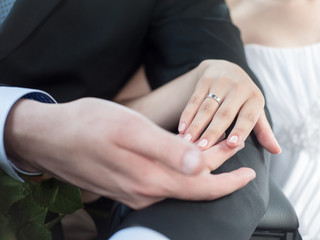 Wedding details - closeup of hands of newly-married