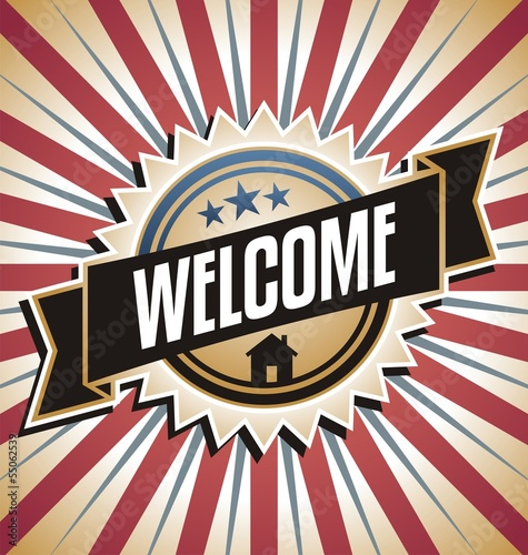 Welcome home vintage vector poster