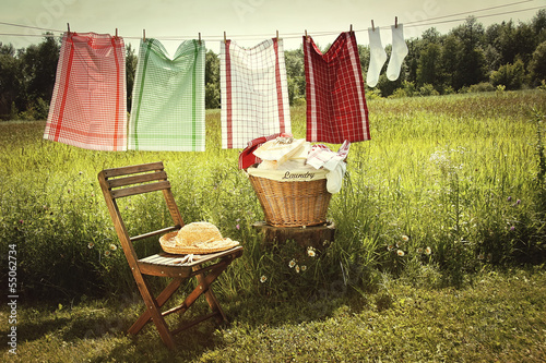 Washing day with laundry on clothesline
