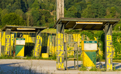 old abandoned gasoline station