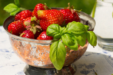 Fresh picked strawberries in a bowl