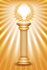 Gold award column with laurel wreath