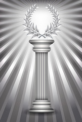 Silver award column with laurel wreath