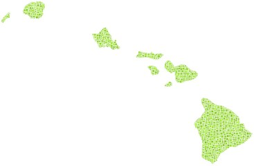 Map of Hawaii - USA - in a mosaic of green squares