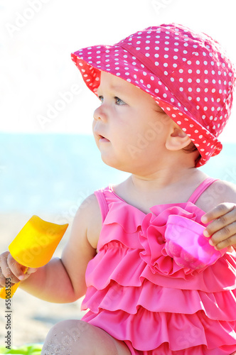 cute baby on beach