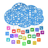 Cloud computing with social concept,Colorful application icon is
