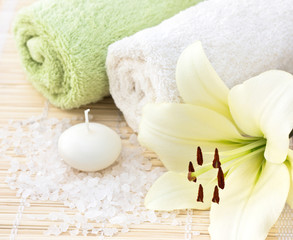 Spa with a white  lily