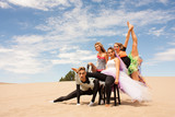 Colorful circus performers in the desert horizontal poster