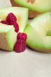 melon and raspberry