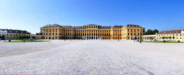 Panoramic view of Schonbrunn Palace, Vienna, Austria