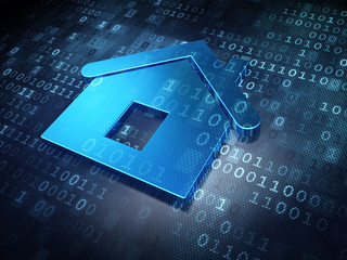 Privacy concept: Blue Home on digital background