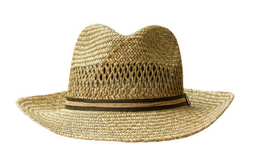 straw hat cut out on white with Clipping-Pfad