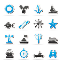 Marine and sea icons - vector icon set
