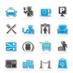 Airport, travel and transportation icons -  vector icon set 1