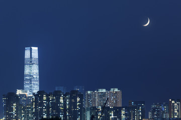 Cresent moon over Hong Kong city