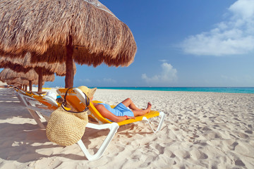 Relaxation on the idyllic beach of Caribbean Sea, Mexico