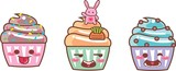 CUPCAKE KAWAII TRI 03 - RABBIT, CHOCOLATE, GRANULADOS