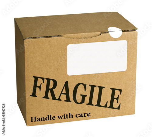 Fragile brown cardboard box, parcel - isolated