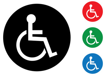 Disabled wheelchair symbol icons