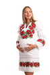 Beautiful pregnant woman in Ukrainian style dress