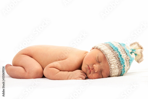 Newborn baby boy asleep