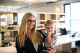 Businesswoman with small child in the office