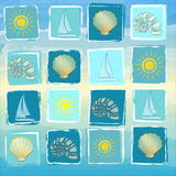 summer background with suns, boats, shells and conchs in squares