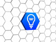 idea - light bulb symbol in blue hexagon