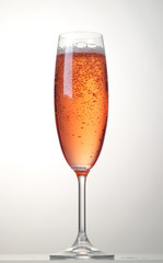 glass of pink sparkling wine