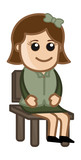 Woman Sitting on Chair - Business Cartoon Character Vector