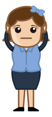 Unhappy Female - Business Cartoon Character Vector
