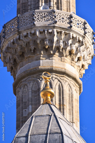 Turkish Mosque Minaret detail with traditional moon-star simbol