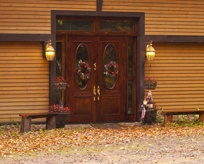 House doorway decorated for Halloween.