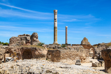 Ancient Roman Empire ruins of Carthage, villas in Tunisa