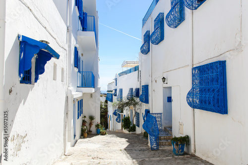 Sidi Bou Said in Tunisia, streets and buildings near town center