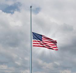 Half Mast American Flag