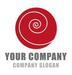 Logo mit Spirale in rot