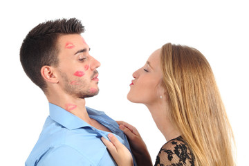 Woman trying to kiss a man desperately