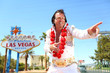 Elvis look-alike impersonator and Las Vegas sign - 55074539